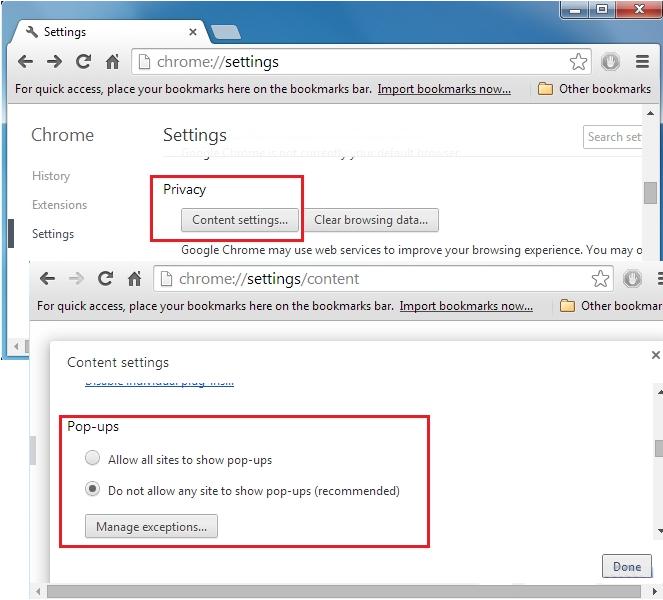 Chrome Blokowanie wyskakujących okienek
