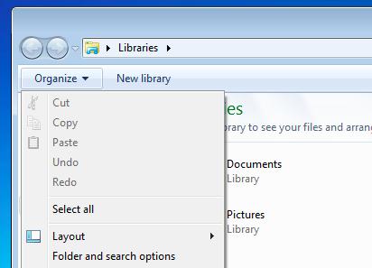 Opcje wyszukiwania Folder Win Vista lub 7