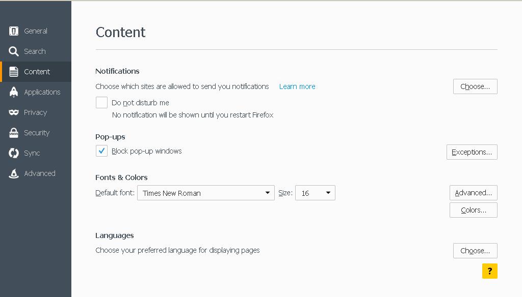 Mozilla Blok Pop-up w zakładce Content
