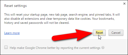 Resetowanie Chrome 2